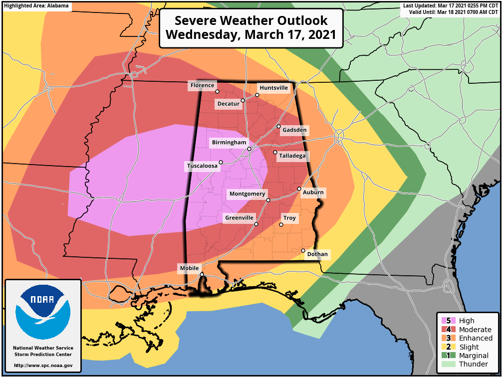 A severe weather outbreak is underway across the southern United States