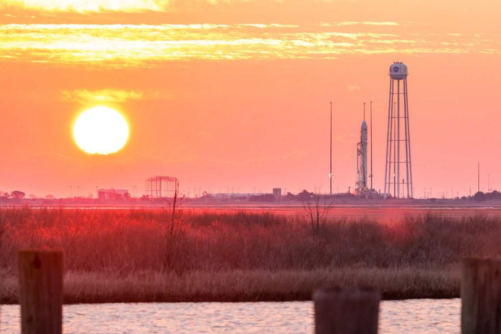 Photos: Sun rises on Antares rocket at Wallops Island